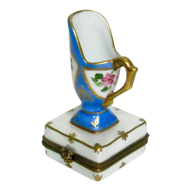 Limoges French Hand Painted Trinket Box For Sale