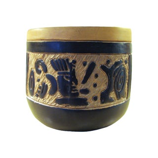Vintage Mexican Oaxacan Negro Incised Planter