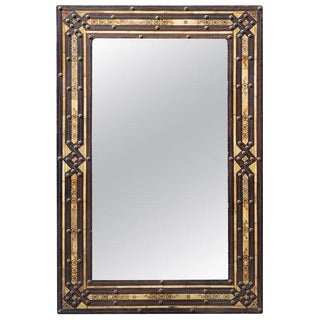 Moroccan Rectangular Metal Inlay Mirror For Sale