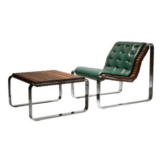 1970s Mid-Century Modern Chrome and Solid Walnut Cantilever Lounge Chair and Ottoman For Sale