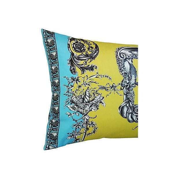 Large Designer Italian Versace Silk Scarf Pillow - Image 3 of 8