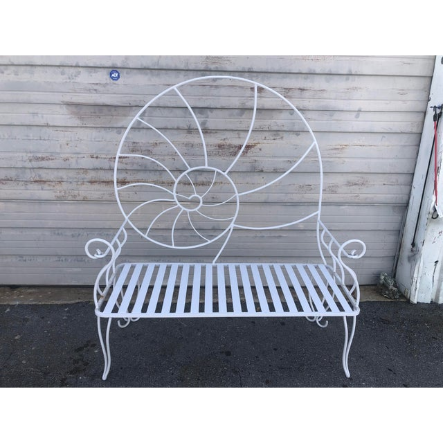 Late 20th Century Nautical Shell Wrought Iron Art Nouveau Garden Bench For Sale - Image 5 of 10