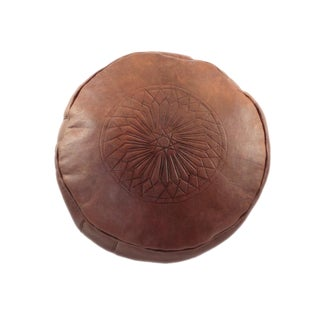 Modern Brown Leather Moroccan Pouf Ottoman For Sale