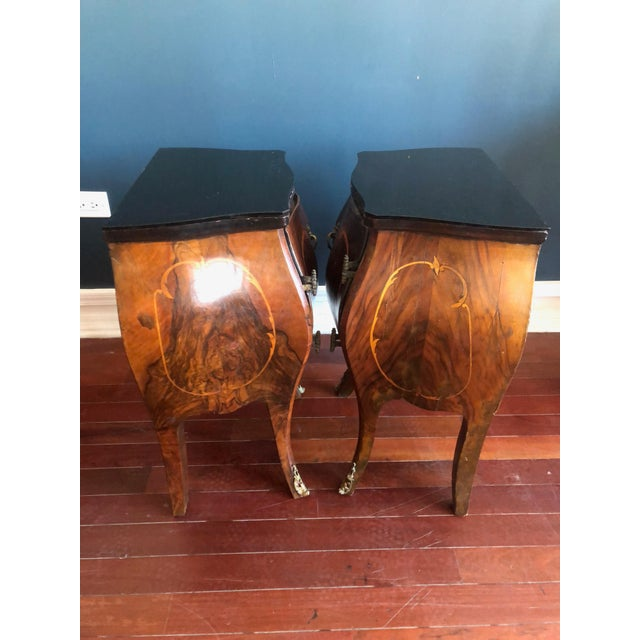 Circa 1930's Louis XV Style Bombe Nightstands With Inlay Marquetry and Ormolu Ornamentation- Pair For Sale - Image 4 of 12