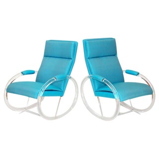 Pair of Charles Hollis Jones Lucite Rocking Chairs For Sale
