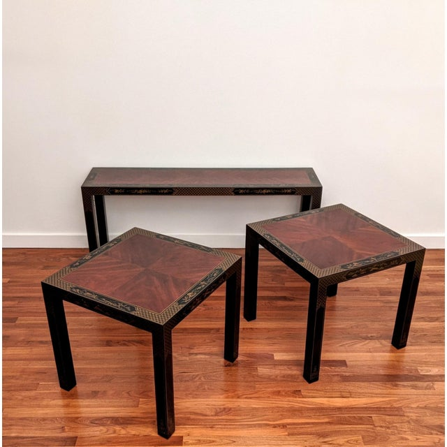 1980s Chinoiserie console table and matching side tables by Drexel Heritage from their Et Cetera collection. Black...