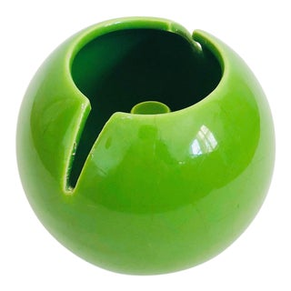 Mid Century Green Ceramic Sphere Ashtray For Sale