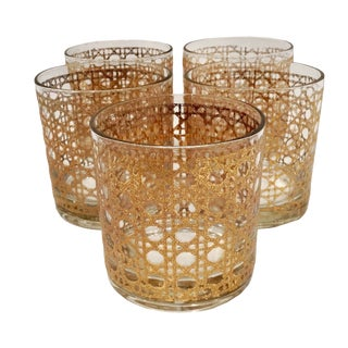 Vintage Gold Leaf Caned Tumblers - Set of 5 For Sale