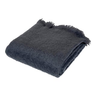 Contemporary Charcoal Luxe Mohair Throw For Sale