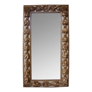 A Large-Scaled and Deeply Carved Continental Baroque Style Ivory Painted and Parcel-Gilt Rectangular Mirror For Sale