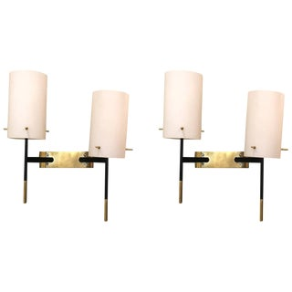 1950s Stilnovo Two-Armed Wall Sconce Appliqués - a Pair For Sale
