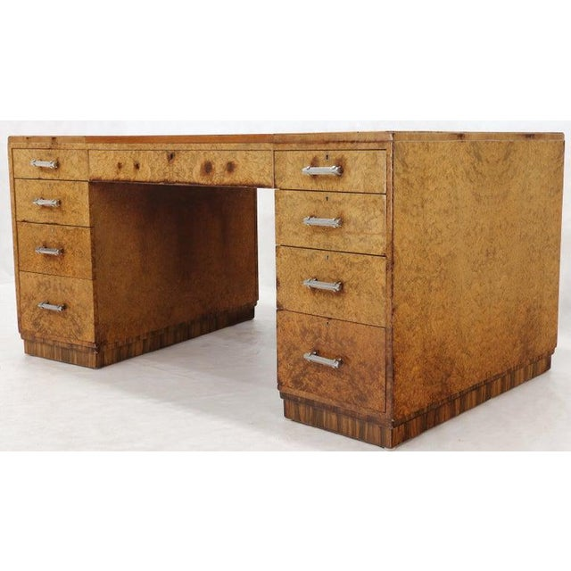 Wood Large Executive Art Deco Burl Wood Partners Desk For Sale - Image 7 of 12