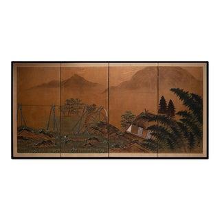 "Circa 1940s Shōwa Era Japanese Screen Byobu Screen ""Water Farm"" For Sale"