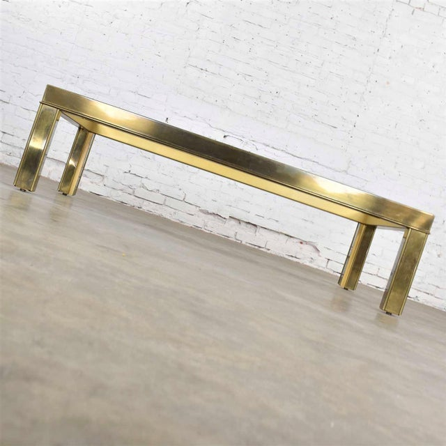 Late 20th Century Large Modern Brass & Glass Parsons Style Coffee or Cocktail Table Style Mastercraft For Sale - Image 5 of 13