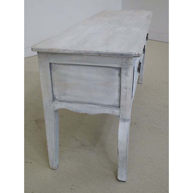 Wood Shabby Chic Country White 3 Drawer Console Table Server For Sale - Image 7 of 10