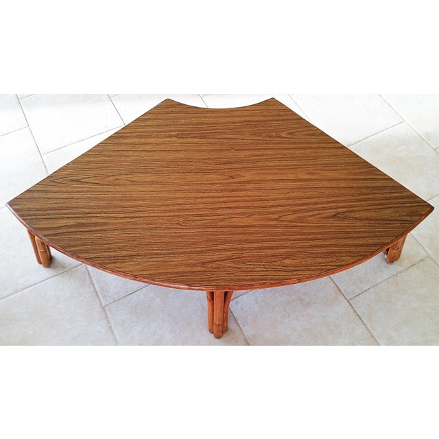 Boho Chic Midcentury Rattan Bamboo Coffee Table For Sale - Image 3 of 8