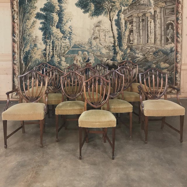 Set of 12 Antique English Sheraton Dining Chairs Includes Four Armchairs For Sale - Image 13 of 13