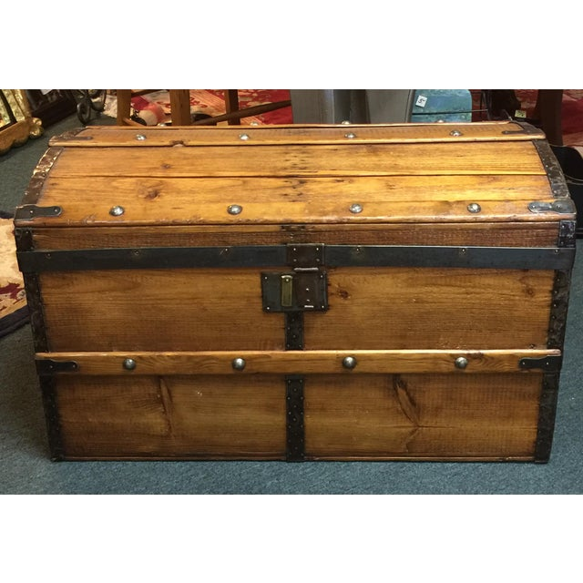 Antique Camelback Wooden Trunk - Image 2 of 6