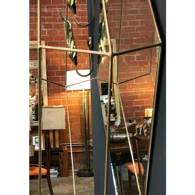 Italian Large Rhomboidal Sculptural Wall Mirror in Brass For Sale - Image 9 of 10