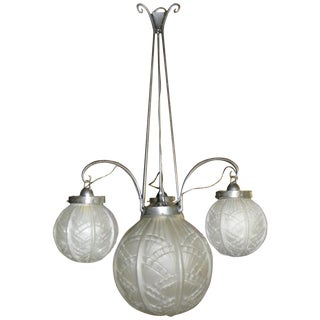 Art Deco Iron Chandelier With Pressed Glass Globes For Sale