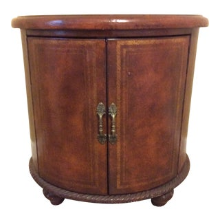 1970s Traditional Round Side Table With Cabinet For Sale