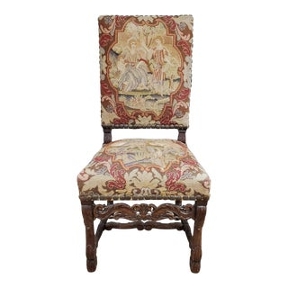 17th Century French Provincial Louis XIII Period Walnut & Needlepoint Side Chair For Sale