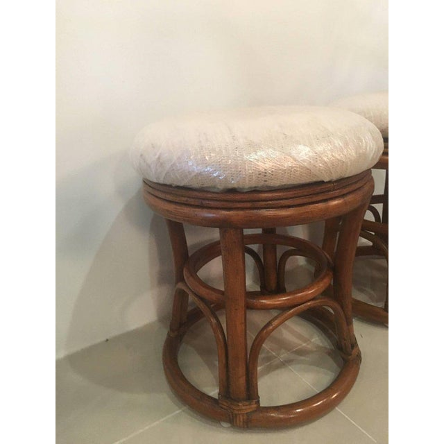 White Vintage Tropical Palm Beach Rattan Stools Benches - a Pair For Sale - Image 8 of 10