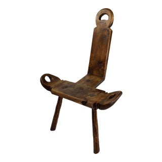 19th Century Spanish Wood Birthing Chair For Sale
