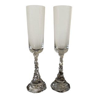 Michael Aram Signed Art Deco Rock Crystal Champagne Flutes - a Pair For Sale