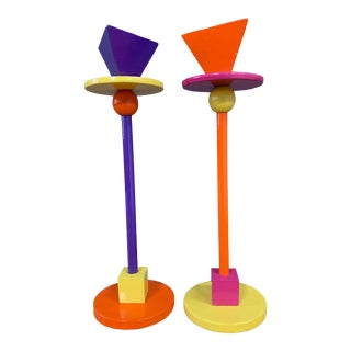 1980s Post Modern Candlesticks in the Style of Sottsass - a Pair For Sale