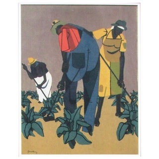 1947 Vintage Robert Gwathmey Tobacco Farmers Signed Screenprint For Sale