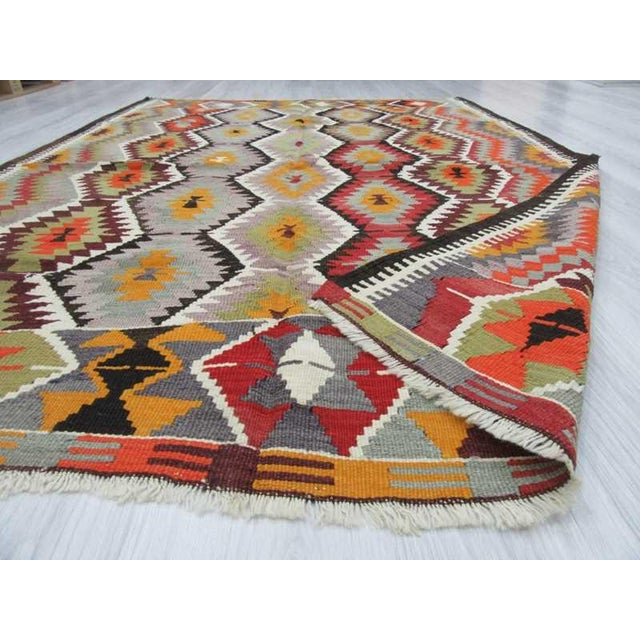 "Handwoven Vintage Decorative Colourful Turkish Kilim Area Rug - 5'4"" x 7'5"" For Sale In Los Angeles - Image 6 of 6"