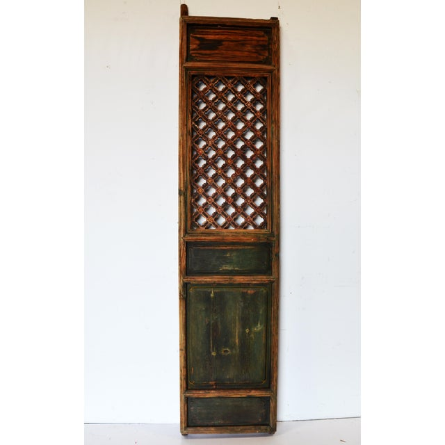 Green Antique Chinese Rustic Panel Door For Sale - Image 8 of 8