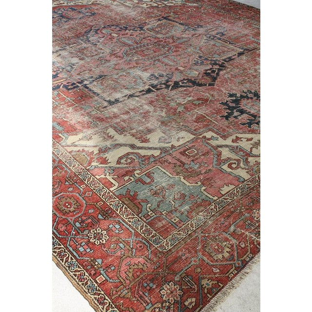 North West Persian Distressed Antique Serapi Rug - 10′4″ × 11′10″ - Image 2 of 3