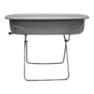 Vinage Porcelain Enamel Baby Bath on Folding Stand