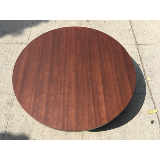 Art Deco 1950s Art Deco Architectural Round Mahogany Coffee Table For Sale - Image 3 of 11