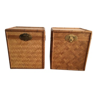 Bamboo and Rattan Trunks - A Pair For Sale