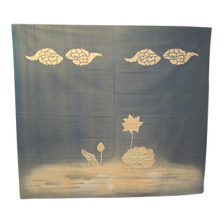 Large Vintage Japanese Printed Cotton Banner For Sale