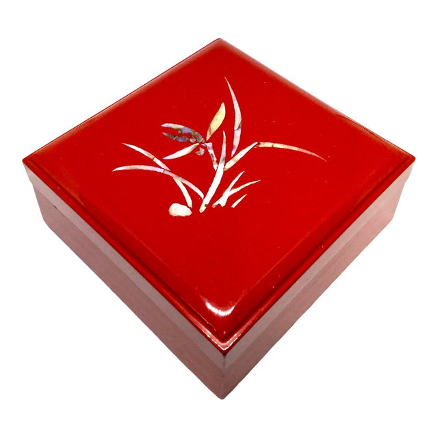 Vintage Red Japanese Lacquered & Mother of Pearl Box For Sale