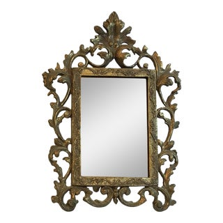 Vintage Brass Filigree Table Mirror For Sale
