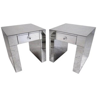 Pair of Modern Mirrored Nightstands For Sale