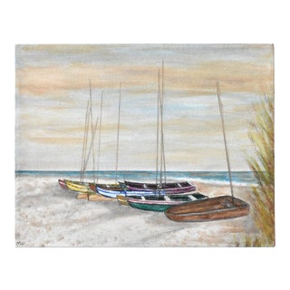 Vintage Oil Painting of Boats on a Beach For Sale