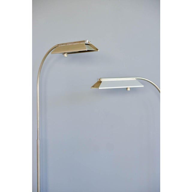 1970s Casella Brushed Nickel Adjustable Dimmable Floor Lamps - a Pair - Image 3 of 9