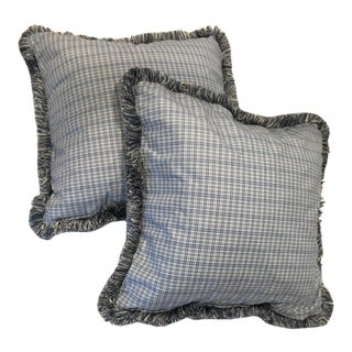 Vintage Gingham Plaid Decorative Pillow Covers With Fringe - a Pair For Sale