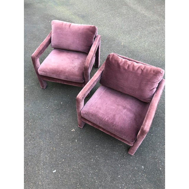 Milo Baughman Style Parsons Armchairs in Original Amethyst Fabric - a Pair For Sale - Image 10 of 11