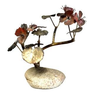 1960s Vintage Curtis Jere Style Metal Plant Tree Bonsai Sculpture For Sale