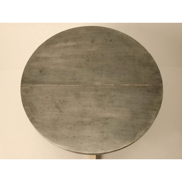 "Amazing French 55"" Round Zinc Topped Dining Table w/Painted Base For Sale In Chicago - Image 6 of 10"