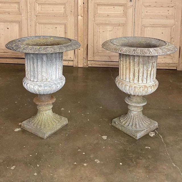 Pair Large 19th Century Cast Iron Jardinieres ~ Garden Vases For Sale - Image 11 of 12