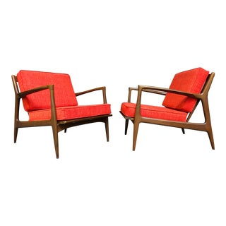 Ib Kofod-Larsen for Selig Mid Century Danish Modern Walnut Lounge Chairs - Pair For Sale