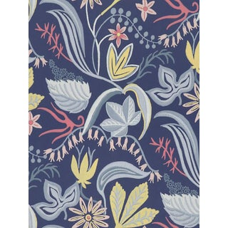 Sample, Scalamandre Saro, Dark Blue Wallpaper For Sale